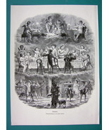 CHERUB PARTY New Year's Eve - VICTORIAN Era  Antique Print - $9.79