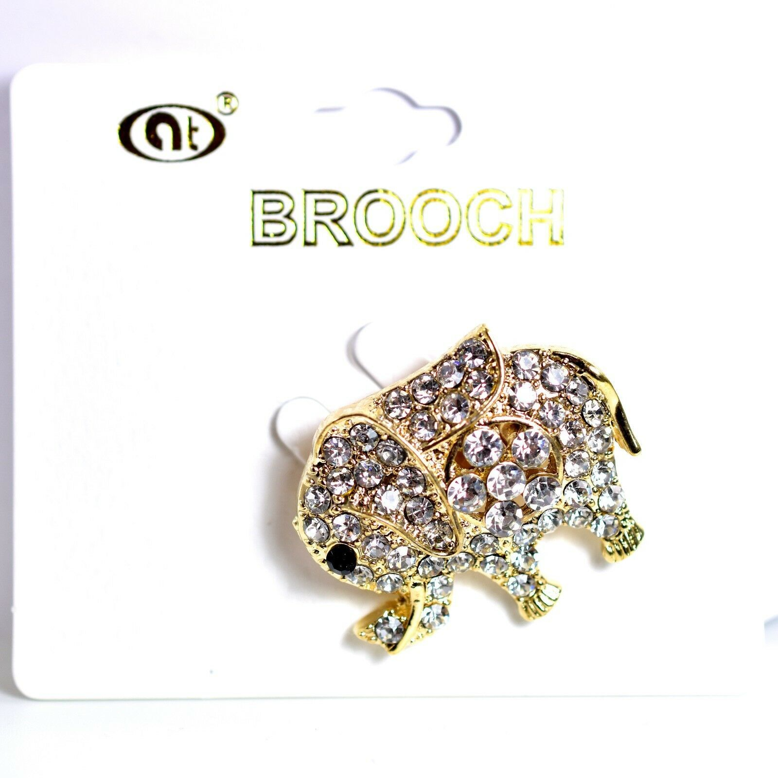"Gold Tone Pave Crystal Elephant 1.25"" Pin Brooch New With Tags"