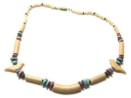 "Vintage Beaded Neutral Beige Green Red Bead Bird Theme Necklace 16"" G470 - $11.88"