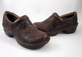 BOC Born Concepts Clogs Size 7.5 Womens Shoes Brown Embossed Floral Tool... - $49.99