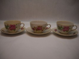 Set Of 3 Teacups And Saucers Nippon Yoko Boeki Co Pink Rose Pattern Gold Trim - $41.57
