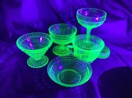7 Piece Lot Vaseline Uranium Glass Sherbets, Cup, Compote - $37.62