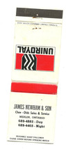 Uniroyal Tire Newham and Sons Car Dealership Merlin Ontario Matchbook Cover - $2.87