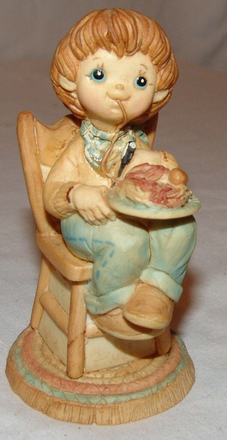 "Figurine Boy Eating Spaghetti and Meatballs Adorable 4"" Resin Figure"