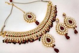Indian Ethnic GoldPlated Kundan MaroonGreen FashionBridal Jewellery Necklace Set - $14.45