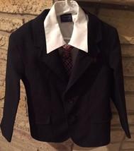 Black Pinstripe Youth Boys Sz 6 Occasion Suit Complete. Shirt Coat Pants... - $33.72