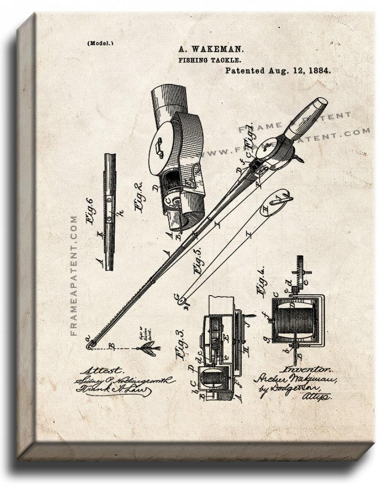 Primary image for Fishing Tackle Patent Print Old Look on Canvas