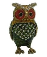 Bejeweled Multicolored Baby Owl Trinket Box- Decorative Jewelry Boxes - $14.99