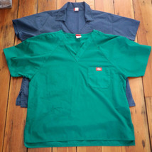 Lot of 2 DICKIES Navy Blue Green V-Neck Nurse Doctor Scrubs Tops Womens M-L - $10.77
