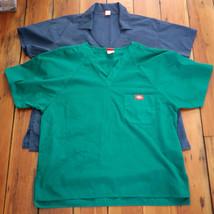 Lot of 2 DICKIES Navy Blue Green V-Neck Nurse Doctor Scrubs Tops Womens M-L - $10.77