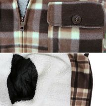 Men's Heavyweight Flannel Zip Up Fleece Lined Plaid Sherpa Hoodie Jacket image 6