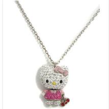 Hello Kitty Swarovski Collana Pendente Cristallo Bianco Con Nastro Rosa ... - $182.04