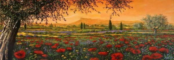 Primary image for Pianura in fiore by Tebo Marzari 12x36 Canvas Poppies Flowers Tuscan Landscape