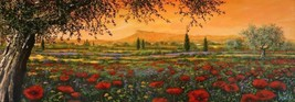 Pianura in fiore by Tebo Marzari 12x36 Canvas Poppies Flowers Tuscan Landscape - $187.11
