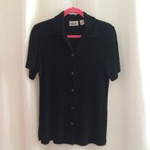 Chico's Travelers Button Front Top Size 0 Small Black Slinky Knit Short ... - $15.00