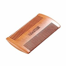 Beard Comb, Natural Wood Mustache Comb with Fine & Coarse Teeth for Men by HAWAT image 1