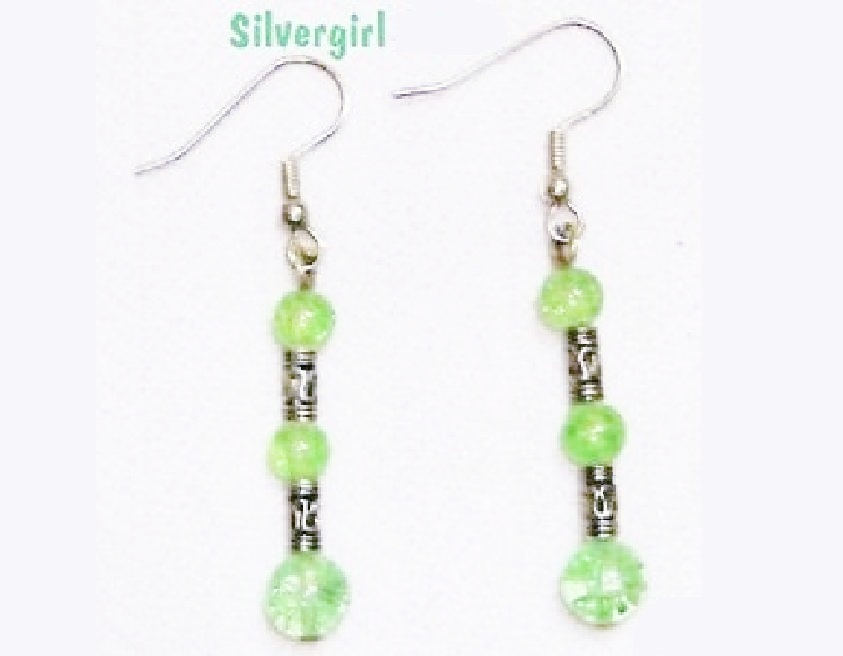 Green Crackled Glass Silver Plate Dangle Earrings