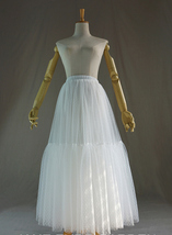 Long White Tulle Skirt WHITE Wedding Tulle Skirt Puffy Layered Polka Dot Pattern image 4