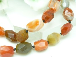 Carnelian Gemstone Nugget Faceted Polished Beaded Necklace 18 inch - $42.00