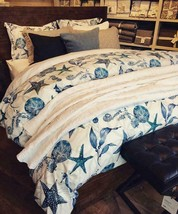 Pottery Barn Catalina Duvet Cover Blue Queen Starfish Sea Shell No Shams - $93.72