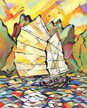"""Akimova: SAIL BOAT,seascape, acrylic, 8""""x10"""", sea - $40.00"""