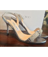 """GORGEOUS JIMMY CHOO """"Ripple"""" Silver Crystal Heels, Size 37, Anthracite - $232.65"""