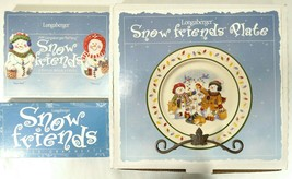 Longaberger 1999 Snow Friends Set of Collectibles Plate, Ornament, + Cookie Mold - $49.49