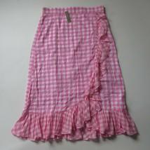 NWT J.Crew Ruffle Faux Wrap Skirt in Pink White Gingham Cotton Maxi XL - $62.00