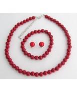 Red Pearl Necklae Earrings Bracelet Wedding Jewelry Bridesmaid Gift Brid... - $20.00
