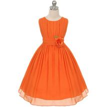 Orange Round Neck Yoryu Chiffon Flower Girl Dress Birthday Prom Pageant ... - £27.32 GBP+