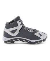 Under Armour Boys UA Spine Heater Mid ST Baseball Cleats Size 1Y Baseball Gray - $54.70