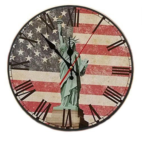 "George Jimmy 14"" Retro Unique Wooden Wall Clock Decor Silence Hanging Clock, 14 - $33.00"