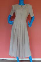 Modest Easter Pastel Dress Womens 6 S M Pink Vintage Wide Shoulder Pads Linen - $30.68