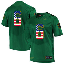 Men's Notre Dame KeiVarae Russell 6 NCAA USA Flag Jersey Green - $52.24