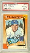 1990 Topps Tiffany Sandy Koufax #665 PSA GEM MT 10 Los Angeles Dodgers - $26.73