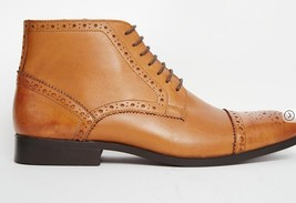 Handmade Men's Brown High Ankle Lace Up Heart Medallion Leather Boots image 2