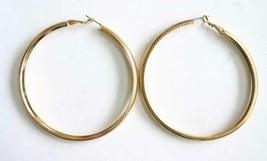 Fabulous Textured Gold-tone Large Hoop Pierced Earrings 1970s vintage 2 ... - $12.30
