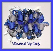 Silver And Blue Hair Bow - $9.00