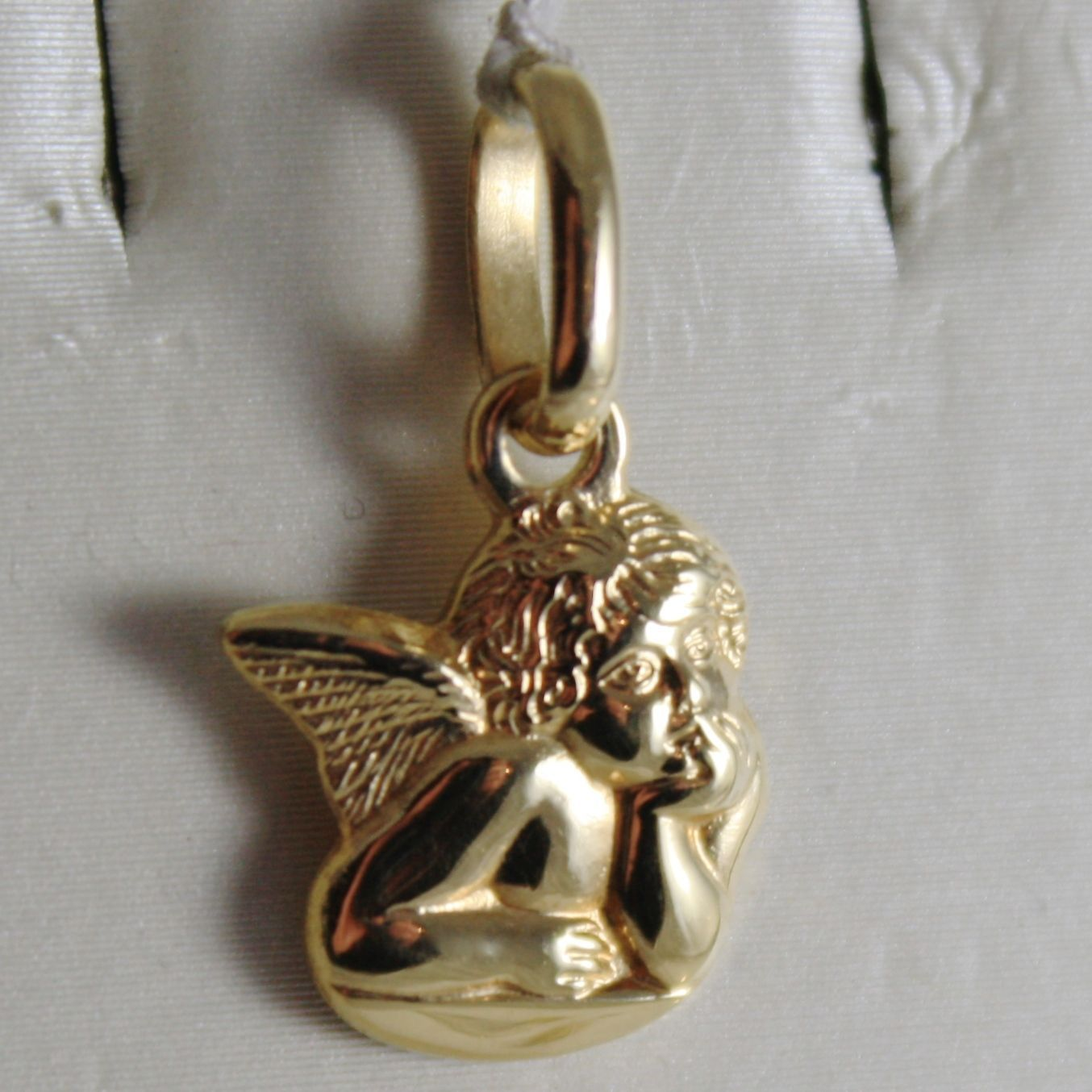SOLID 18K YELLOW GOLD PENDANT, LITTLE GUARDIAN ANGEL, ENGRAVING, MADE IN ITALY