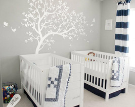 White tree wall decal Nursery wall decoration ideas, birds wall stickers KW032R - $72.90