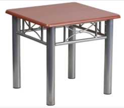 Mahogany Laminate End Table with Silver Steel Frame - $49.00