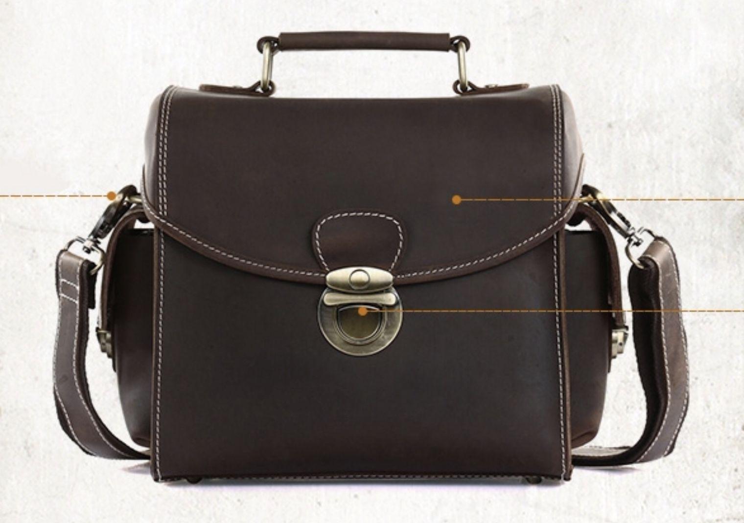 Pull up Crazy Horse Italian Leather Camera Case Bag Top Handle Shoulder Bag 1225