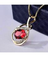 """2.1Ct Oval Cut Lab Red Ruby Solitaire Pendant 18"""" Free Chain 925 Starlin... - $72.90"""