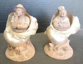 Rare English Terracotta Fisherman & Wife Mounted Mother of Pearl Nautilu... - $356.24