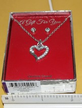 "Jewelry/  Open Heart 18 1/2"" genuine crystal pendant and pierced earring set NIB - $10.77"