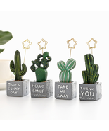 Cactus Clip Garden Miniature Figurine Resin Cute Plant Decoration Message Holder - $20.34 CAD