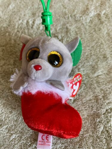 Primary image for NEW Ty Baby Beanie Boo Gray Mouse Red Stocking BUNDLES Holiday Keychain Backpack