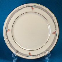 "Lenox Gramercy 8.25"" Salad Plate Gold Trim w Gray Band & Pink Flowers - $4.00"