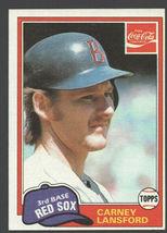 Boston Red Sox Carney Lansford 1981 Topps Coca Cola Coke Baseball Card 6... - $0.99