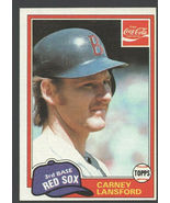 Boston Red Sox Carney Lansford 1981 Topps Coca Cola Coke Baseball Card 6... - $0.99